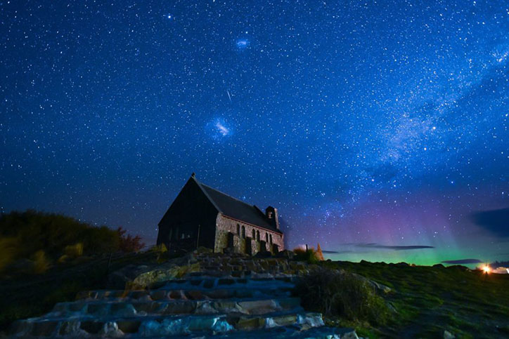 Church of the Good Shepherd with Aurora Australis in the background.